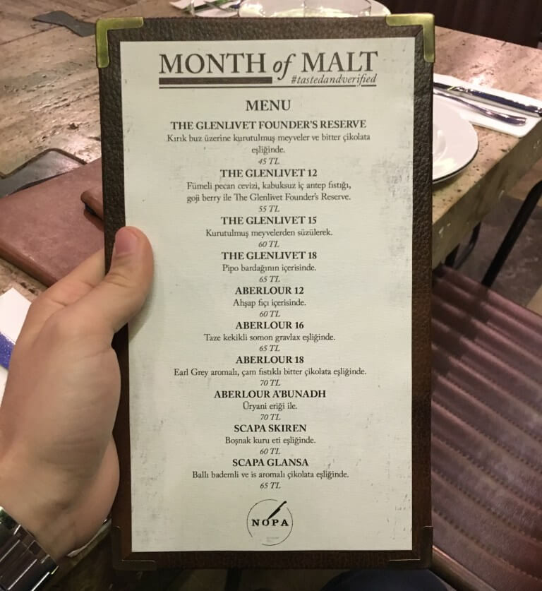 Month of Malt Menü